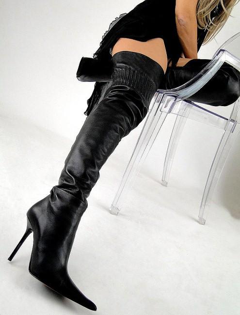 biondini edel sexy overknee stiefel leder schwarz 38 ebay. Black Bedroom Furniture Sets. Home Design Ideas