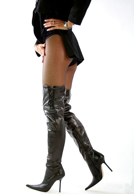 biondini sexy classic leder overknee stiefel schwarz 41 ebay. Black Bedroom Furniture Sets. Home Design Ideas